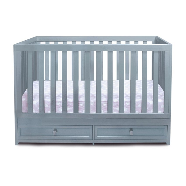 mozart 3 in 1 convertible grey crib with drawer. Black Bedroom Furniture Sets. Home Design Ideas