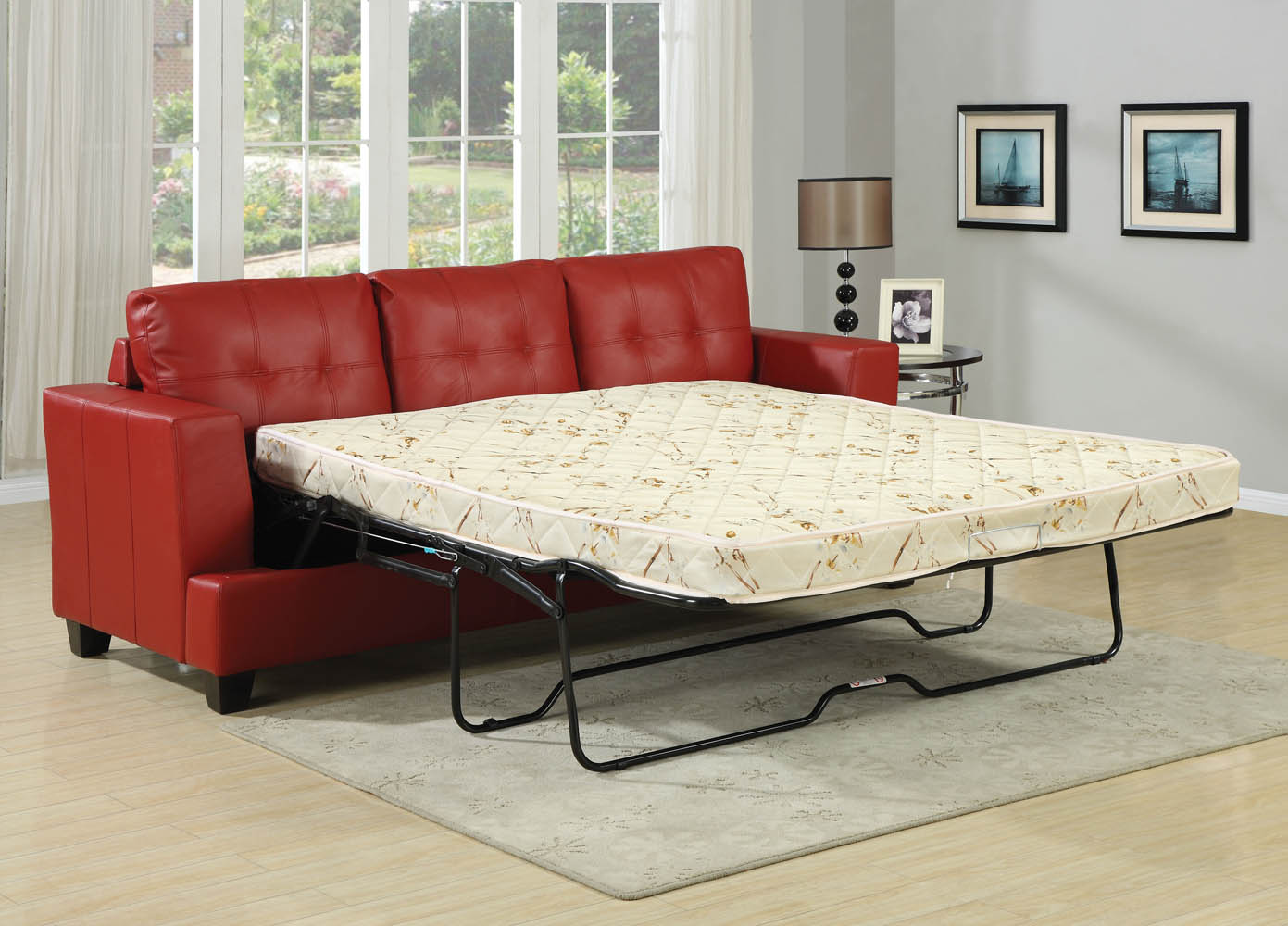 Red faux leather queen sofa bed for Sofa bed queen