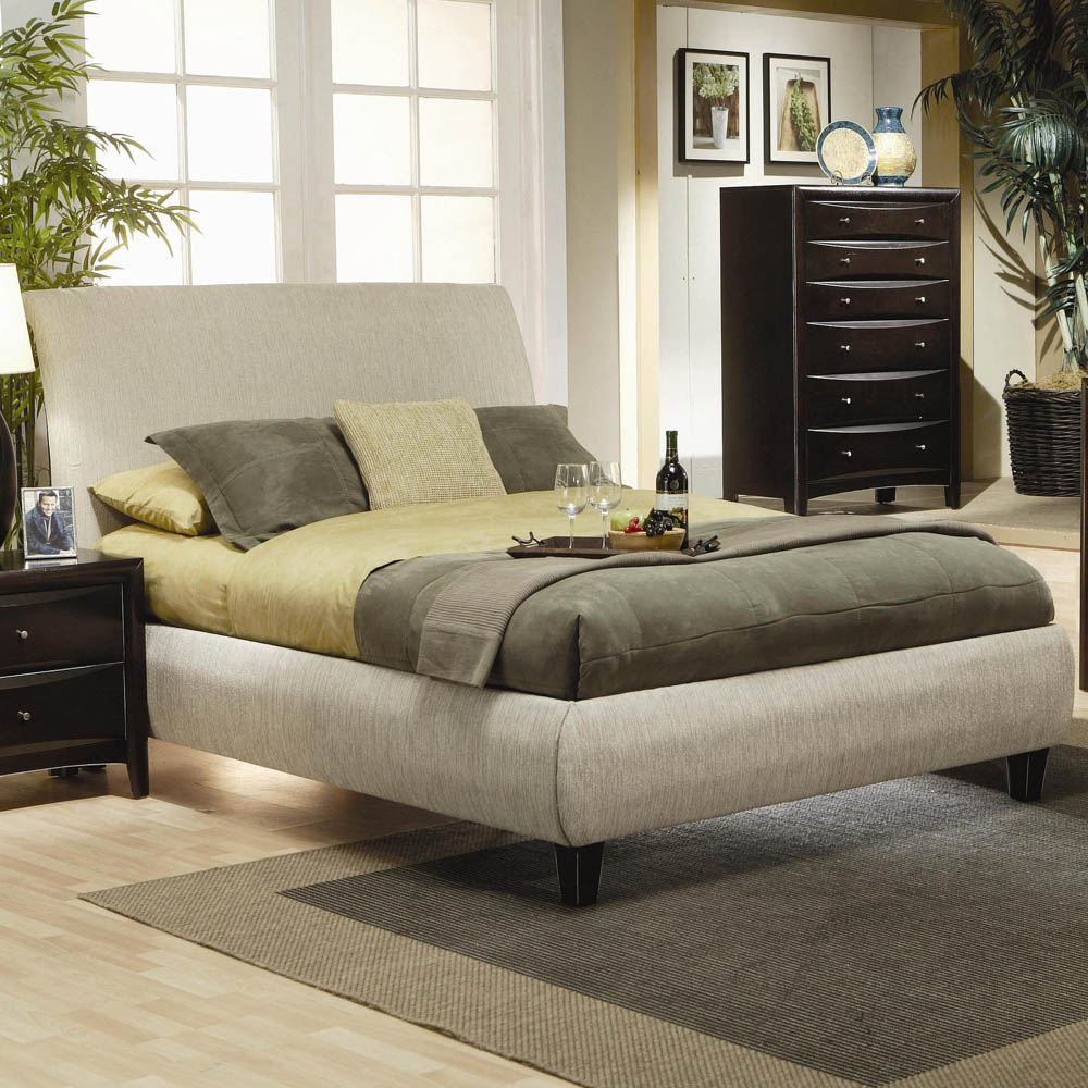 Eastern king contemporary upholstered bed frame - Contemporary king bedroom furniture ...