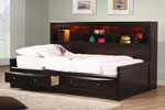 Cappuccino Finish Full Daybed with Bookcase and Storage Drawers
