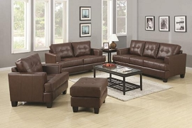 Samuel Stationary Sofa w/ Attached Seat Cushions Brown Leather