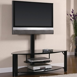 Contemporary Metal and Glass Media Console with Bracket