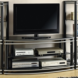 Black and Silver Finish Curved TV Stand