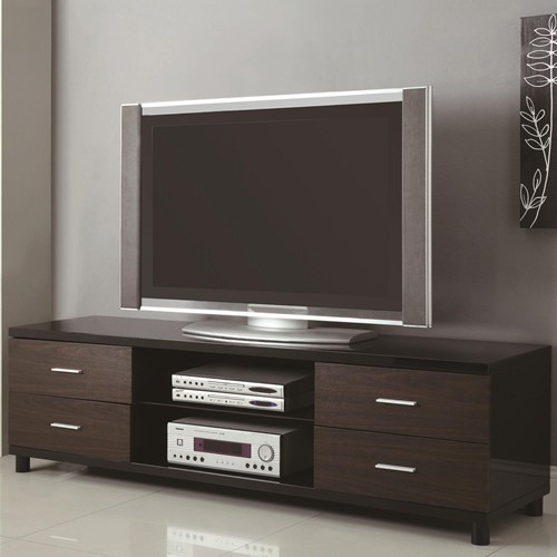 4 drawer two tone tv stand with 2 shelves. Black Bedroom Furniture Sets. Home Design Ideas
