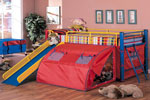 Children Lofted Bed with Slide and Tent