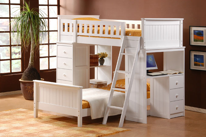 Twin Loft Bunk Bed with Desk 677 x 450