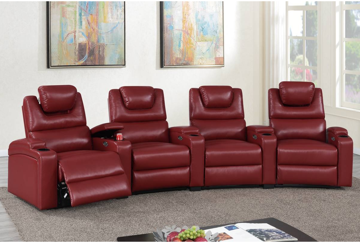 3 or 4 Pcs Curved Movie Theater seats with Power Modular Reclining System- Red or Espresso