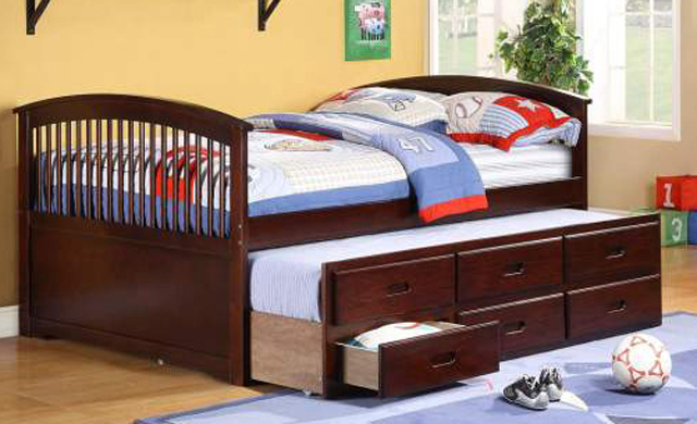 Full Size Captain Bed With Twin Trundle And 3 Drawers