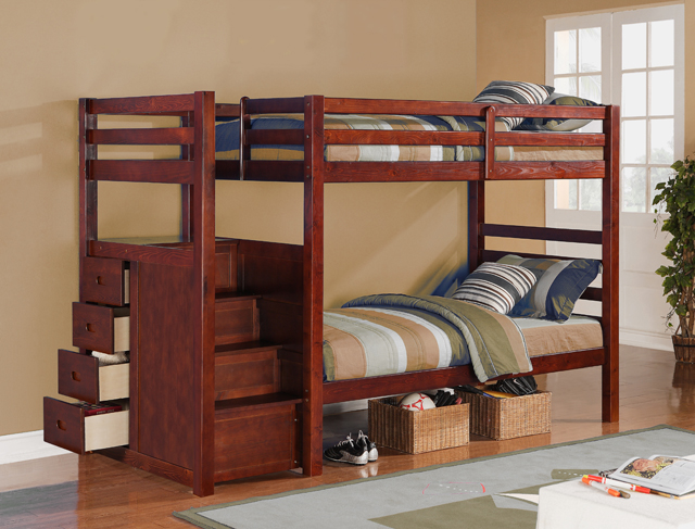 Casual Modern Espresso Finish Twin Over Twin Size Bunk Bed