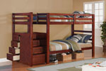 Espresso Finish Twin/Twin with Drawer Stair Bunk Bed
