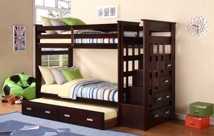 Espresso Finish Twin Twin Ladder Bunk Bed With Trundle