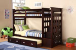Espresso Finish Twin/ Twin Ladder Bunk Bed with Trundle and Storage Side Drawers