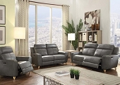 CAYDEN - Gray Leather-Aire Match Motion Sofa Set