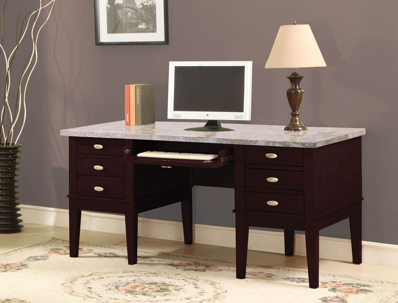 White Marble Top Office Desks