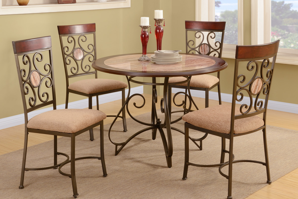 French fashion with metal frame dining table and chair set for Dining table and chairs