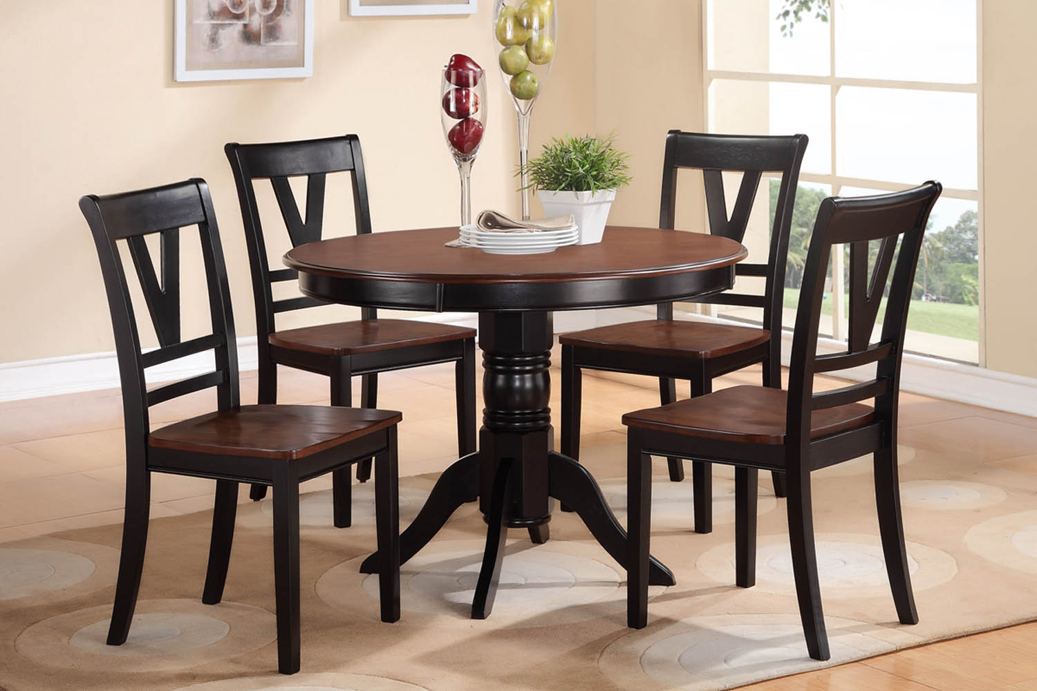 5 piece two tone round solid wood table set for Solid wood round dining table set