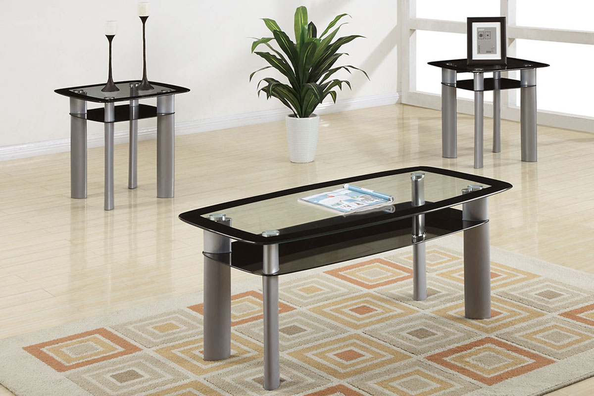 3 piece black glass modern coffee table set. Black Bedroom Furniture Sets. Home Design Ideas