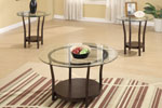 3 Piece Coffee Table Set with Clear Glass Circular Tabletops and Simple Round Wood Base