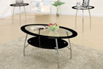 3 Piece Coffee Table Set with Black Glass and Metal Legging