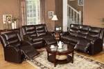 2 Piece Brown Bonded Leather Recliner Set