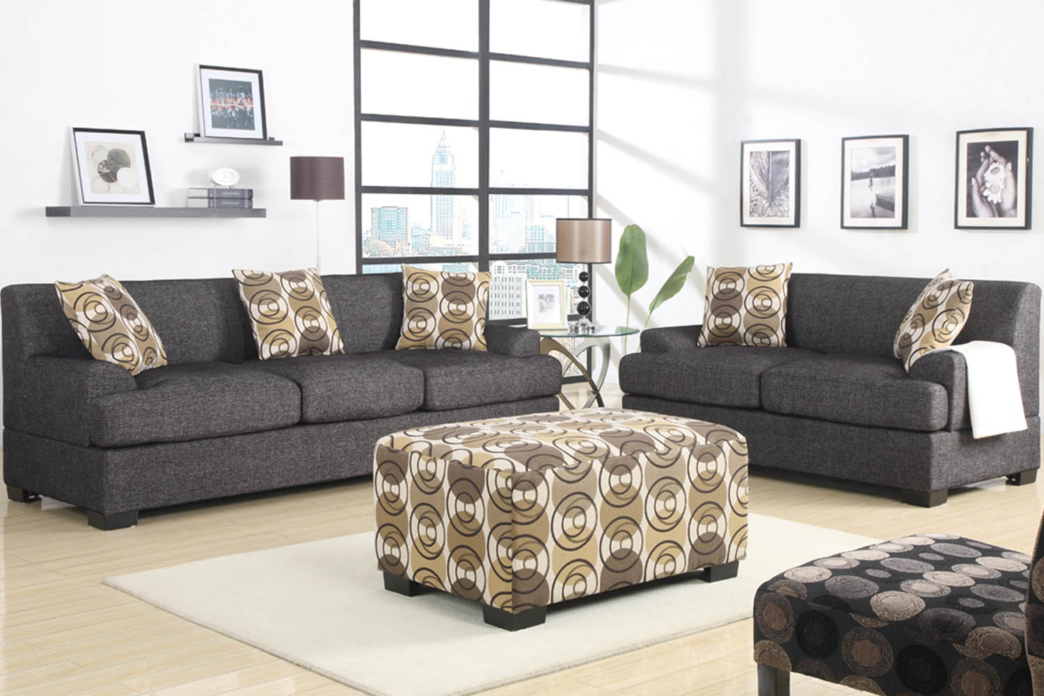 home living room 2 piece grey sofa set