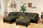 Microfiber Plush Sectional Set with Ottoman