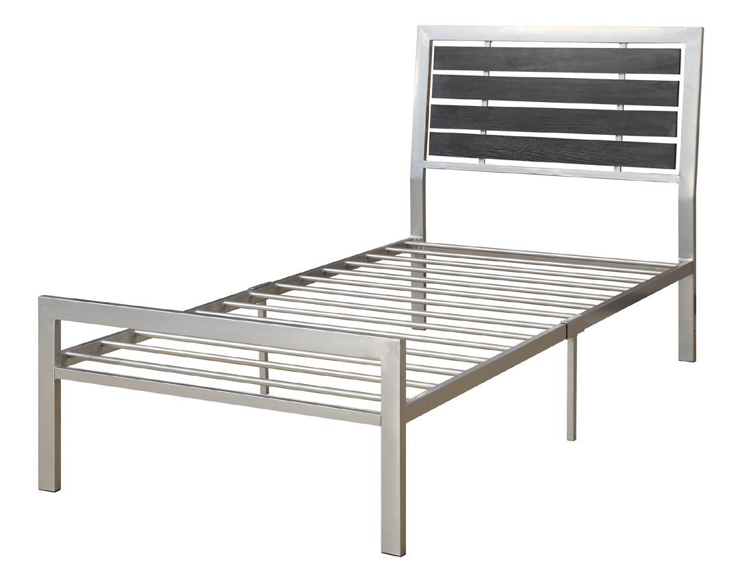 Contemporary Grey And Black Metal Twin Bed Frame: metal twin bed frame