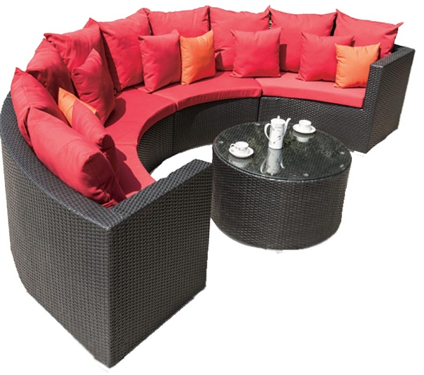 Half circle sectional sofa set with round coffee table for Round coffee table with sectional sofa