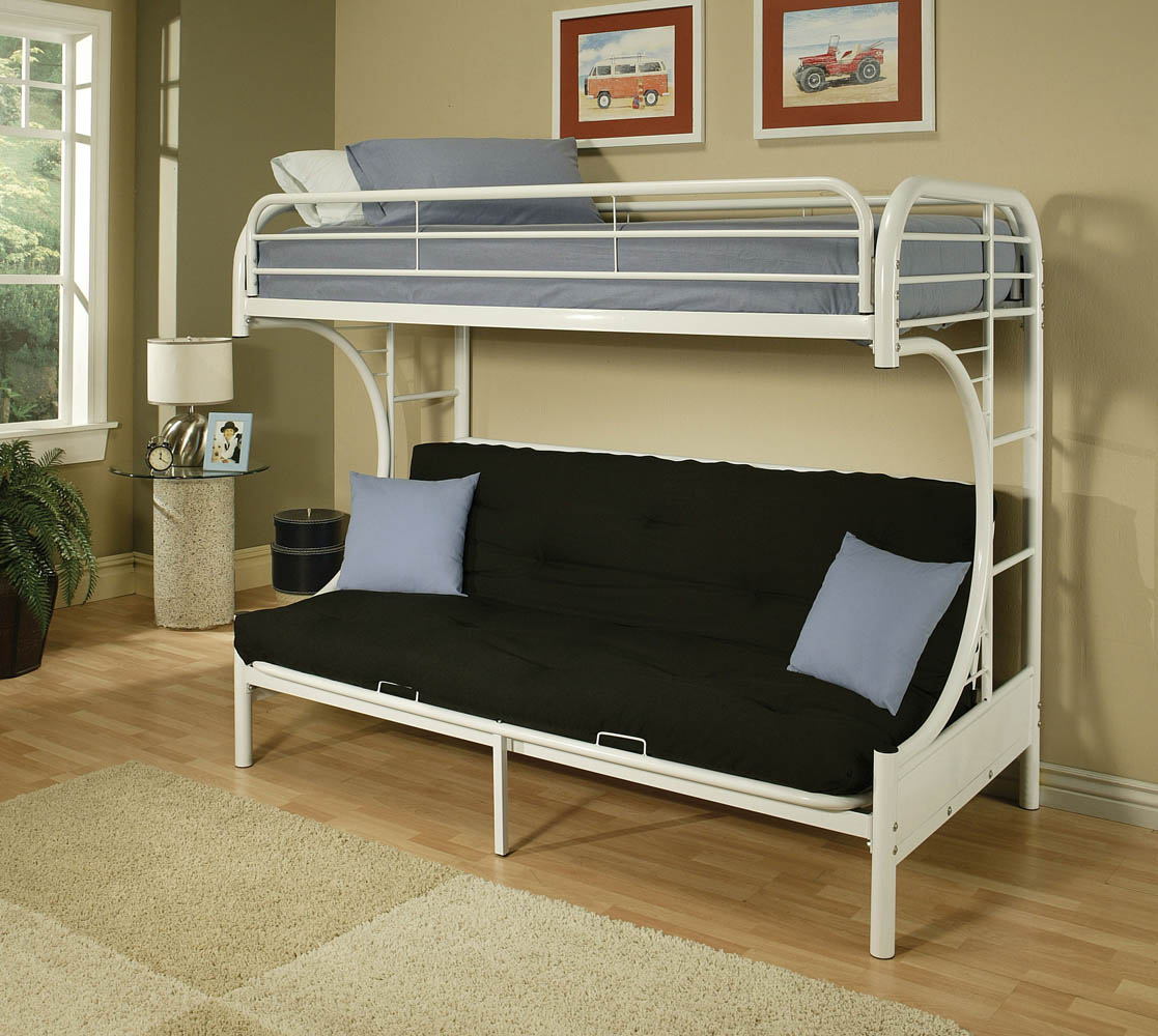 Twin On Top And Futon On The Bottom Making It The Perfect White Metal Bunk Bed Mattress And