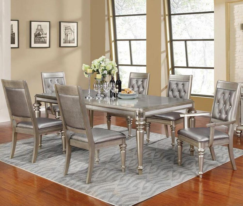 Rectangular Dining Room Tables With Leaves: 7 Pcs Danette Collection Rectangular Dining Table Set With