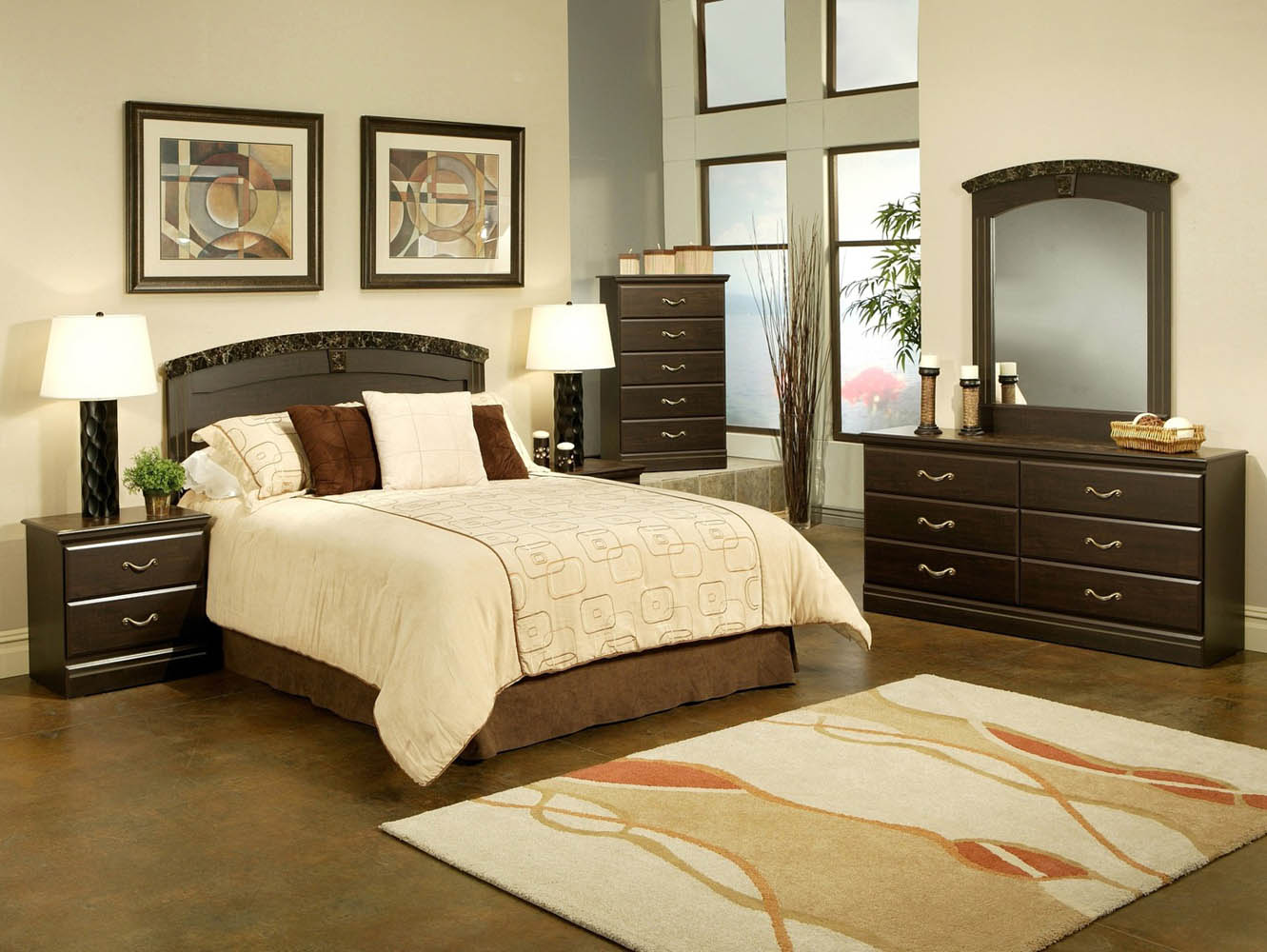 5 piece espresso and marble finish queen panel bed set