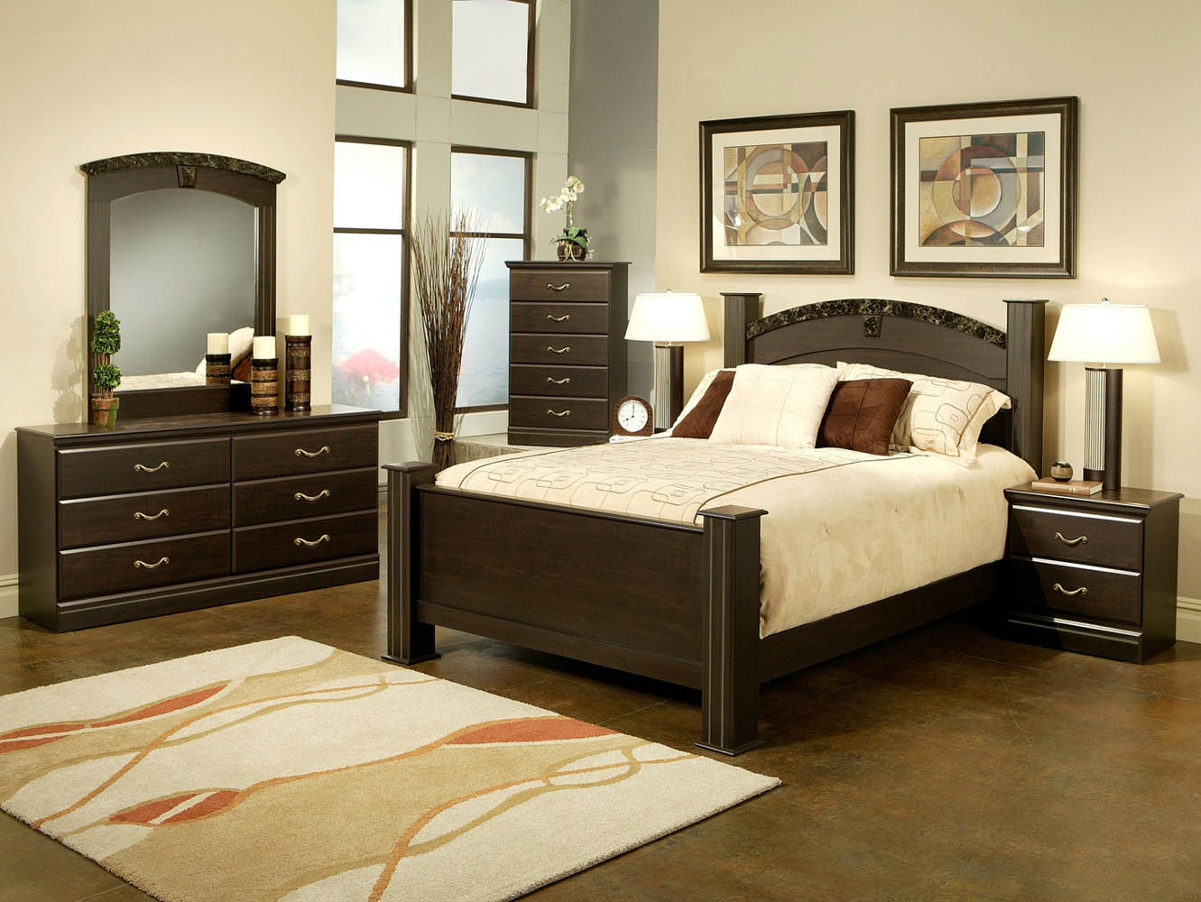 Queen Black And Marble Finish Poster Bed Frame