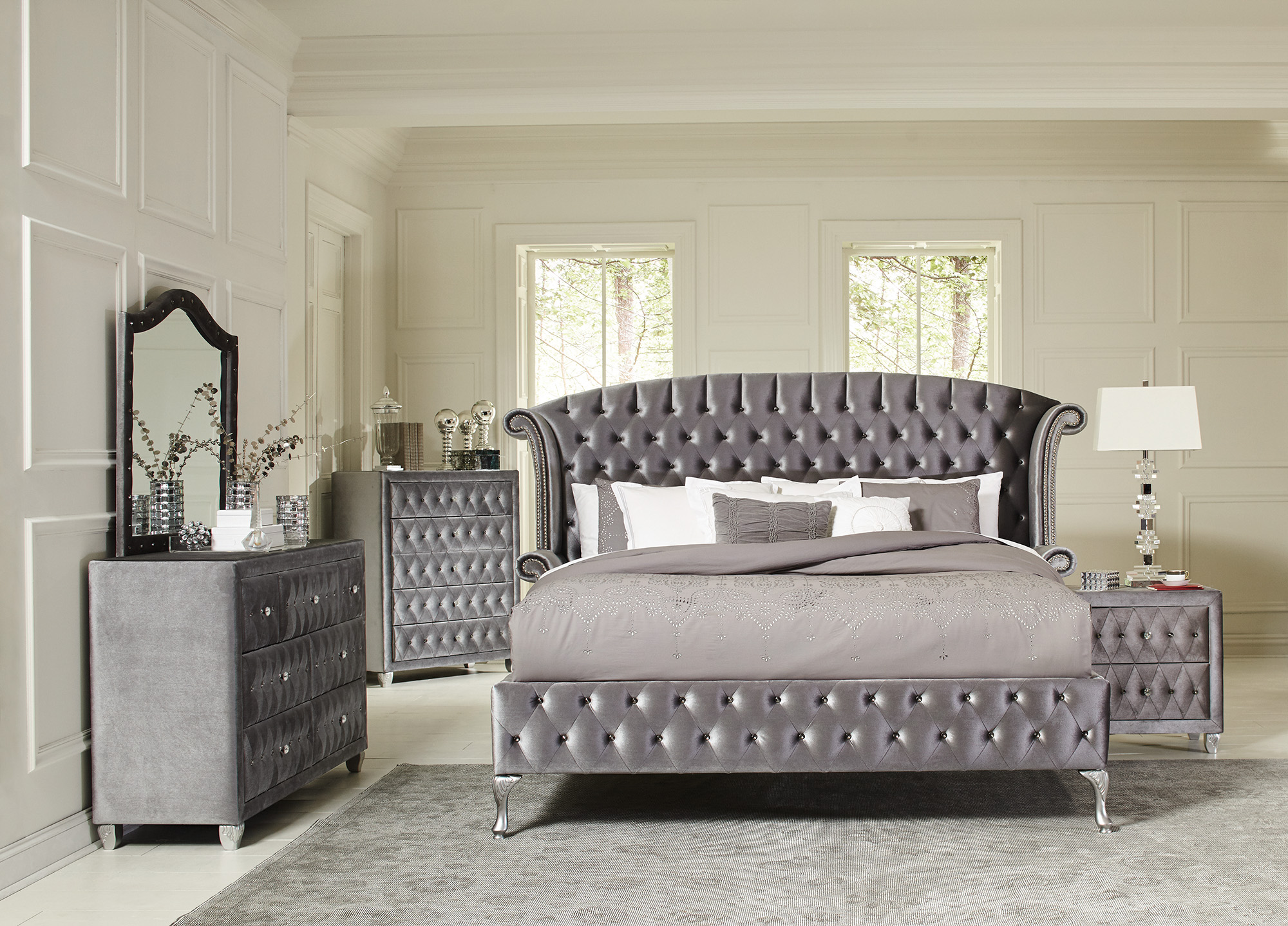 Deanna Upholstered Bed with Nailhead Trim and Button Tufting