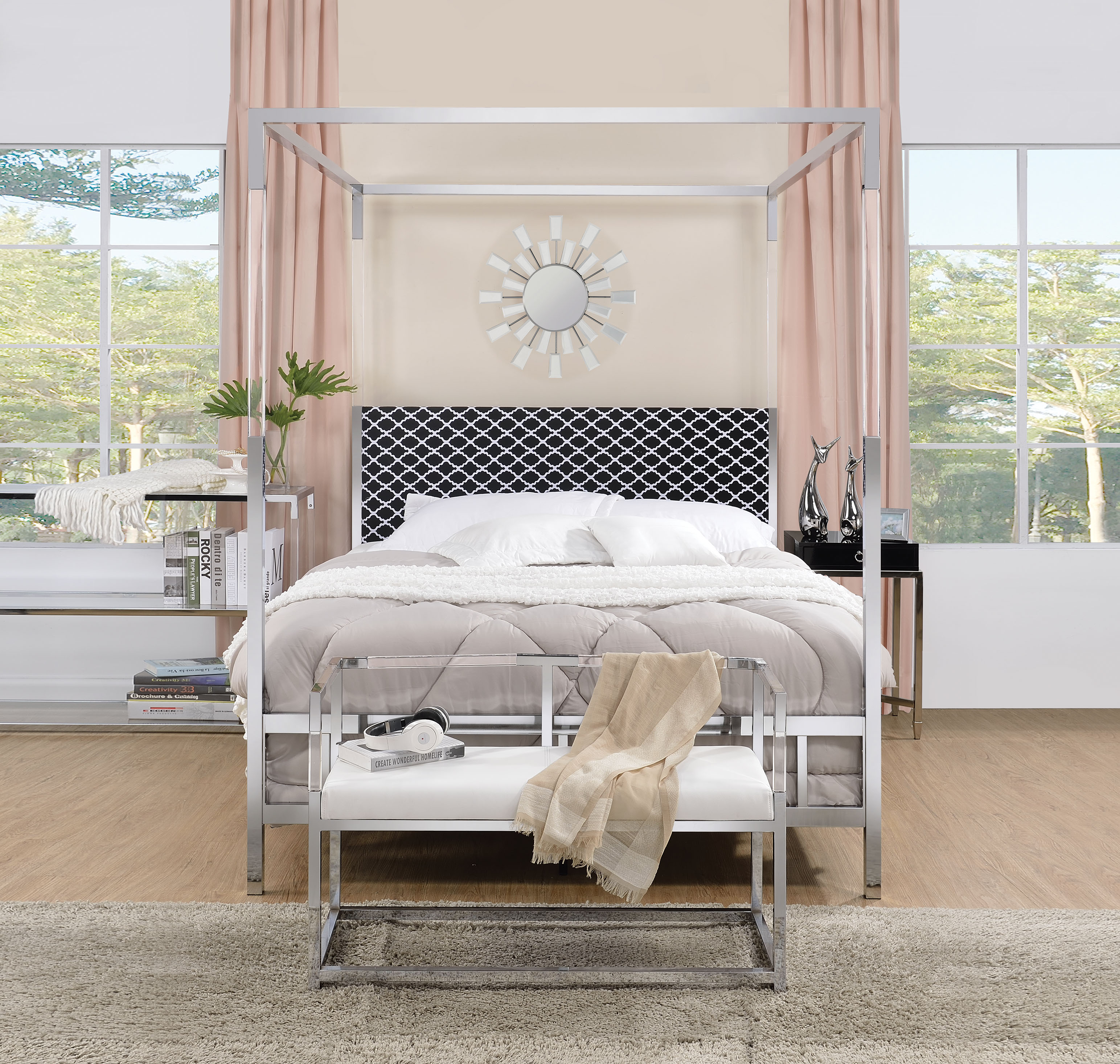 The Raegan Metal and Acrylic Post Bed