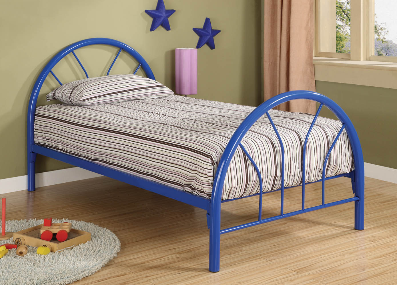 blue metal twin bed frame