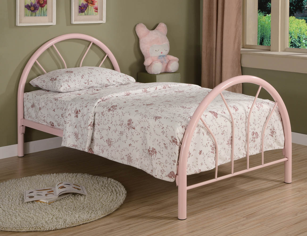 pink metal twin bed frame
