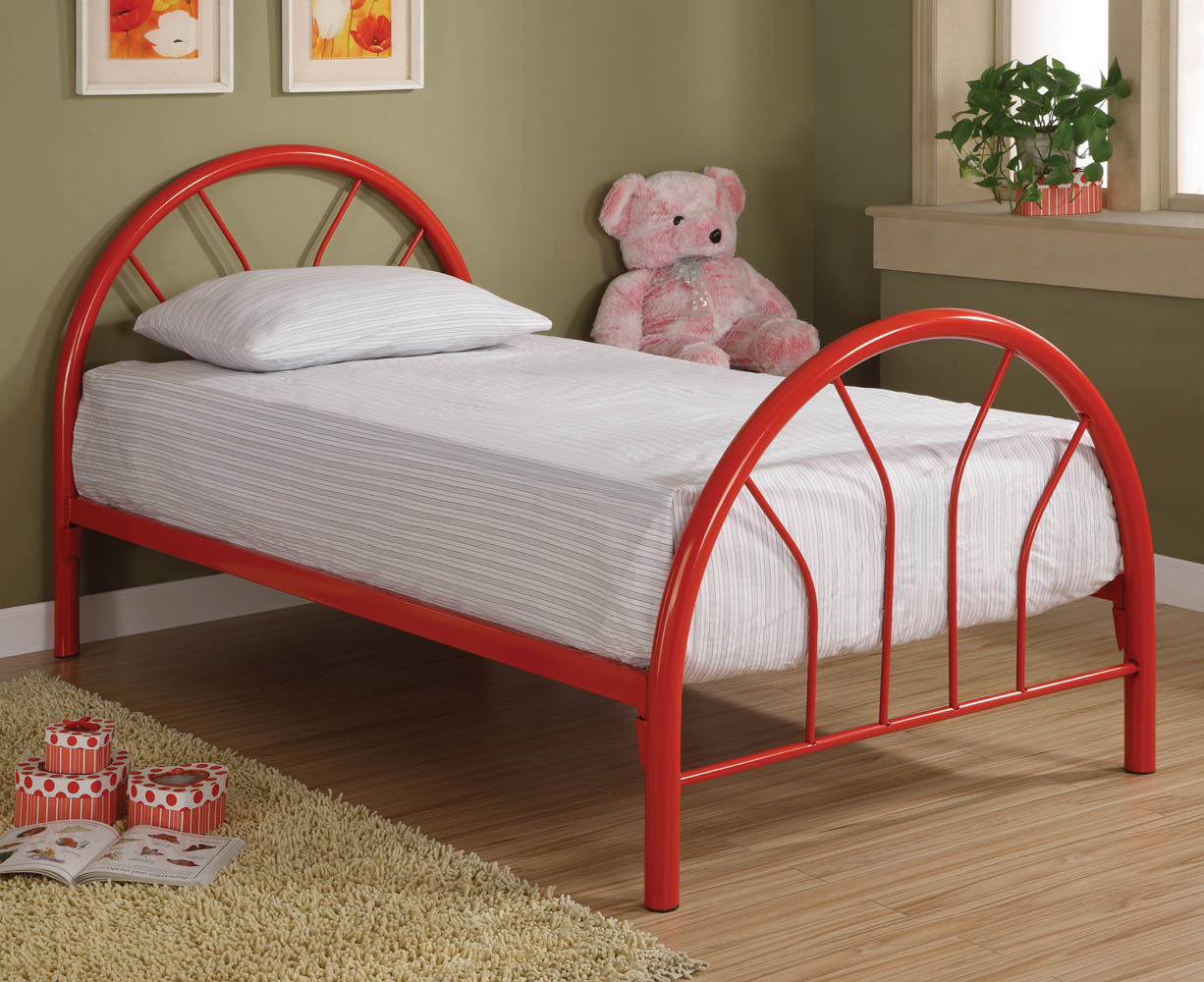 Red metal twin bed frame for Twin size childrens bed frames