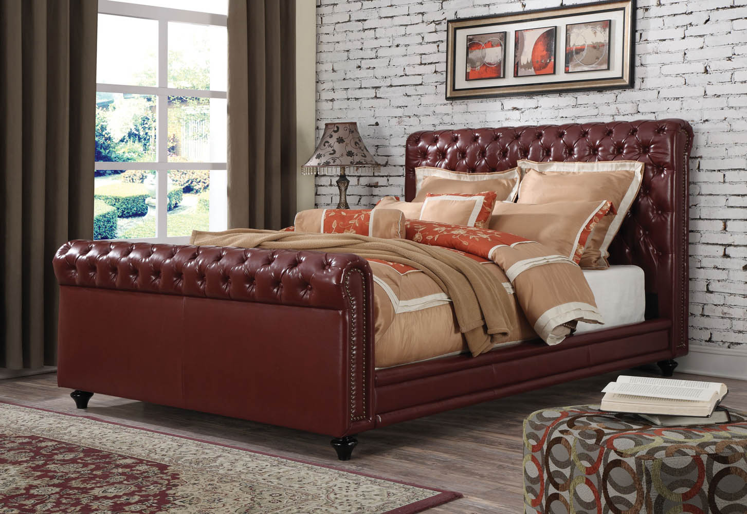 Burgundy leather upholstered queen bed frame for Upholstered queen bed frame