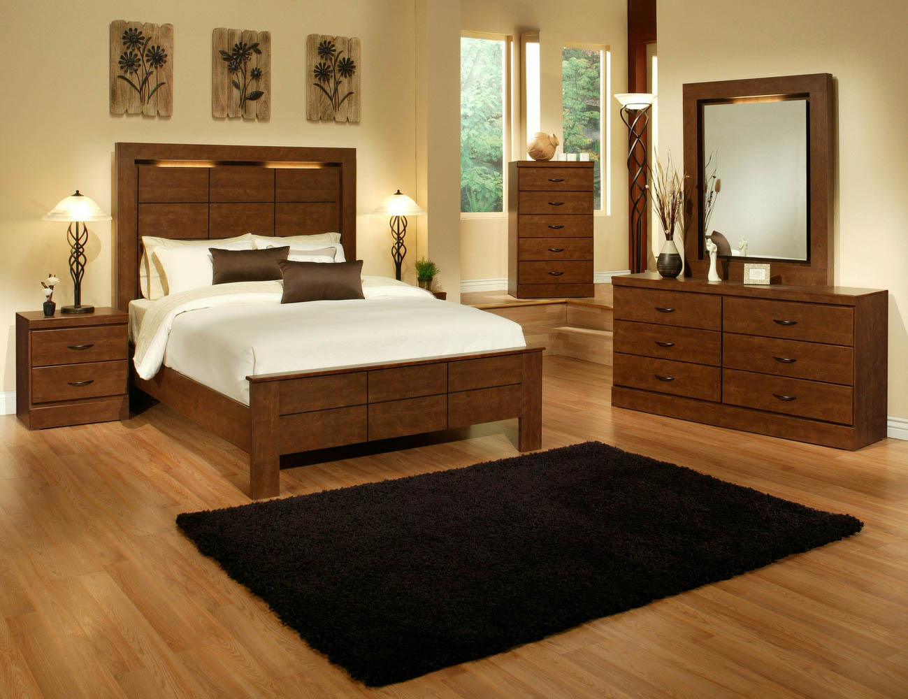 5 piece birch and espresso finish queen bedroom set