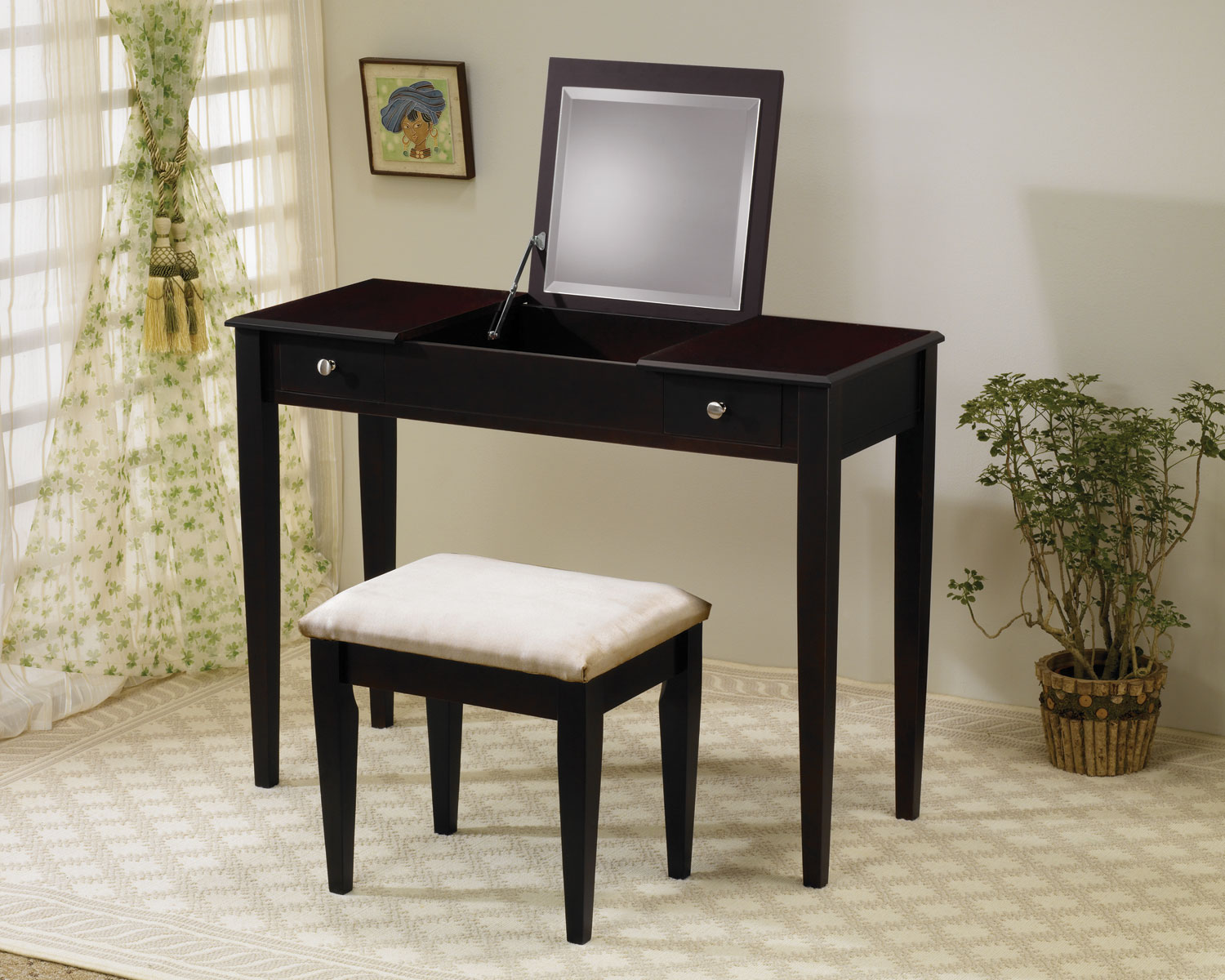 2 Piece Cappuccino Finish Vanity Set