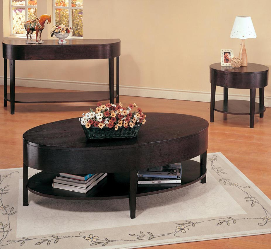 Large Oval Wood Coffee Table: Gough Oval Coffee Table With Shelf