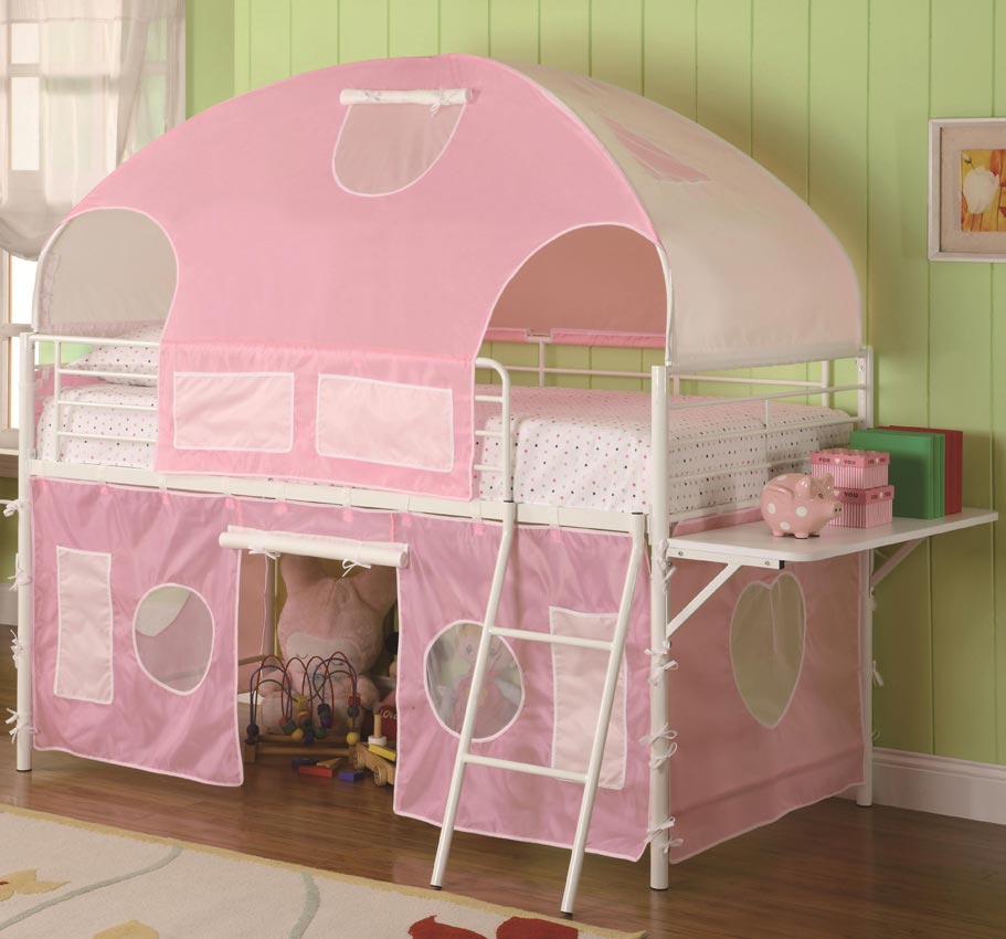 White Amp Pink Tent Bunk Bed