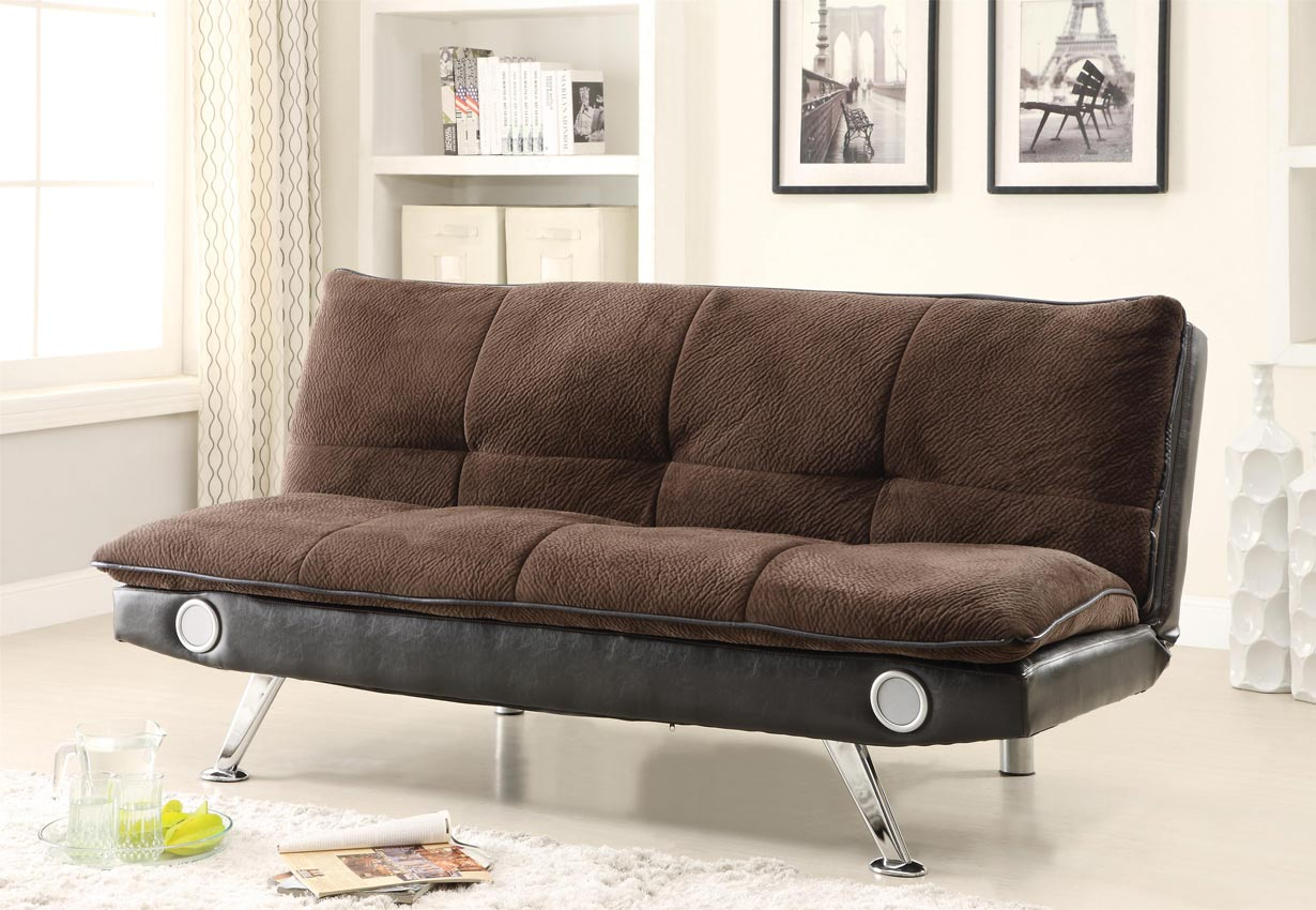 Contemporary Brown Futon With Built In Bluetooth Speakers