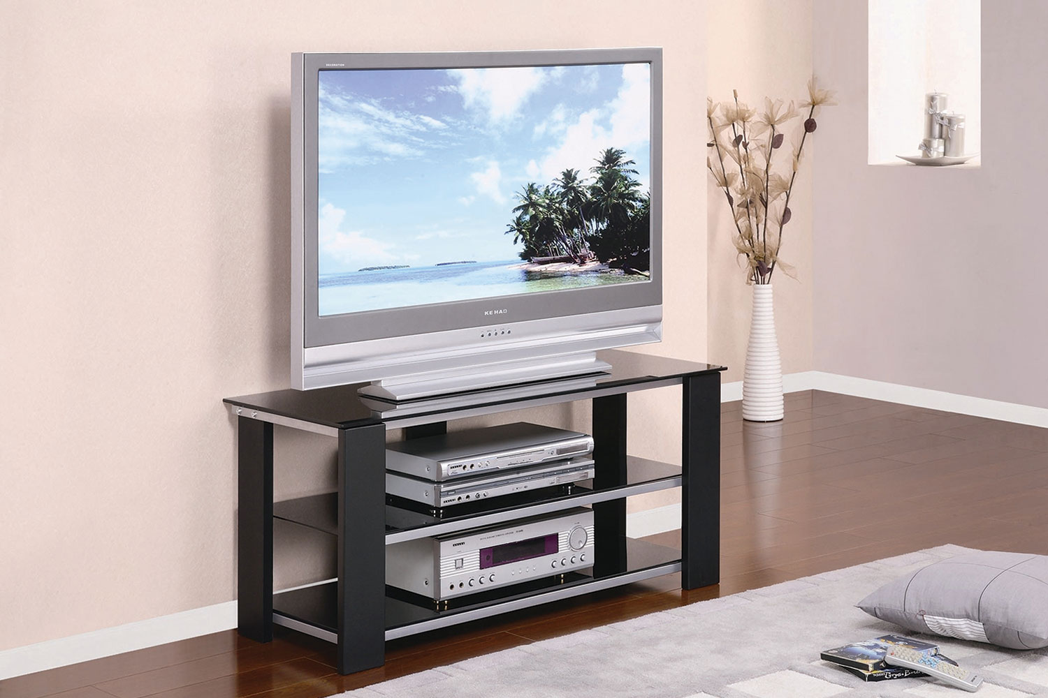 40 Tv Stand With Tempered Glass Top Black Metal
