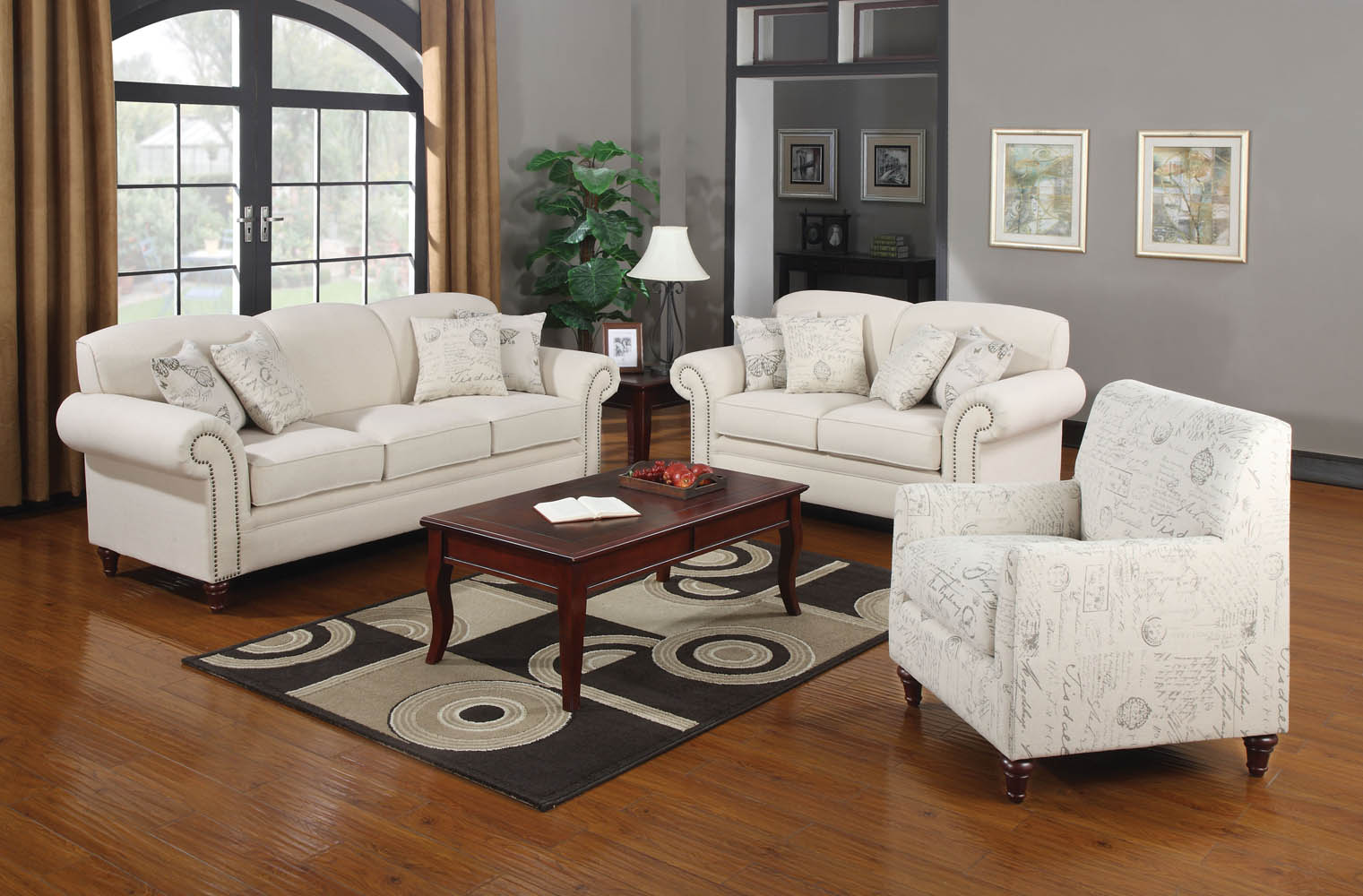 3 piece oatmeal linen fabric sofa set for Family room sofa sets