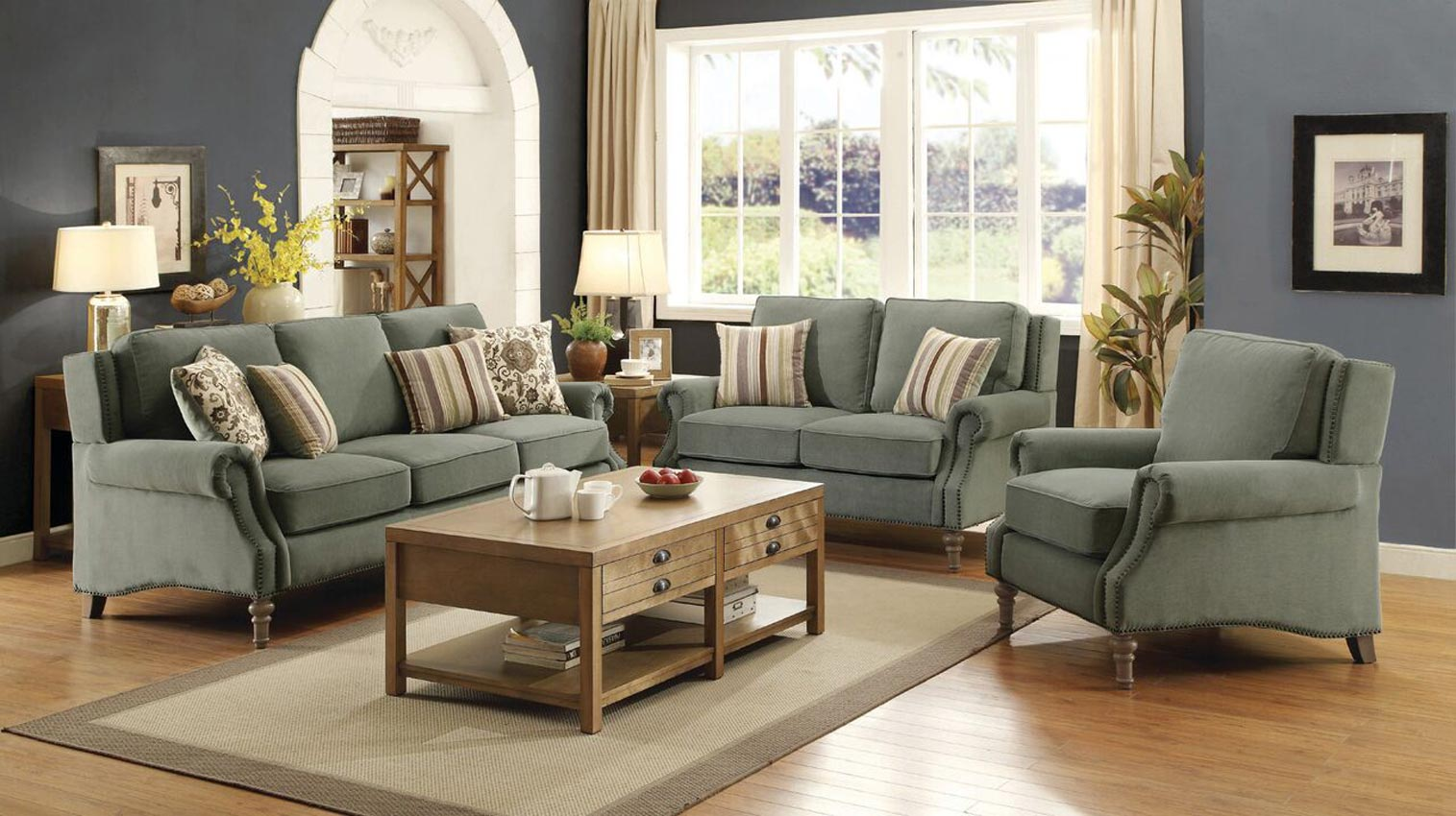 Rosenberg light sage living room sofa desert green - Sage green living room ...