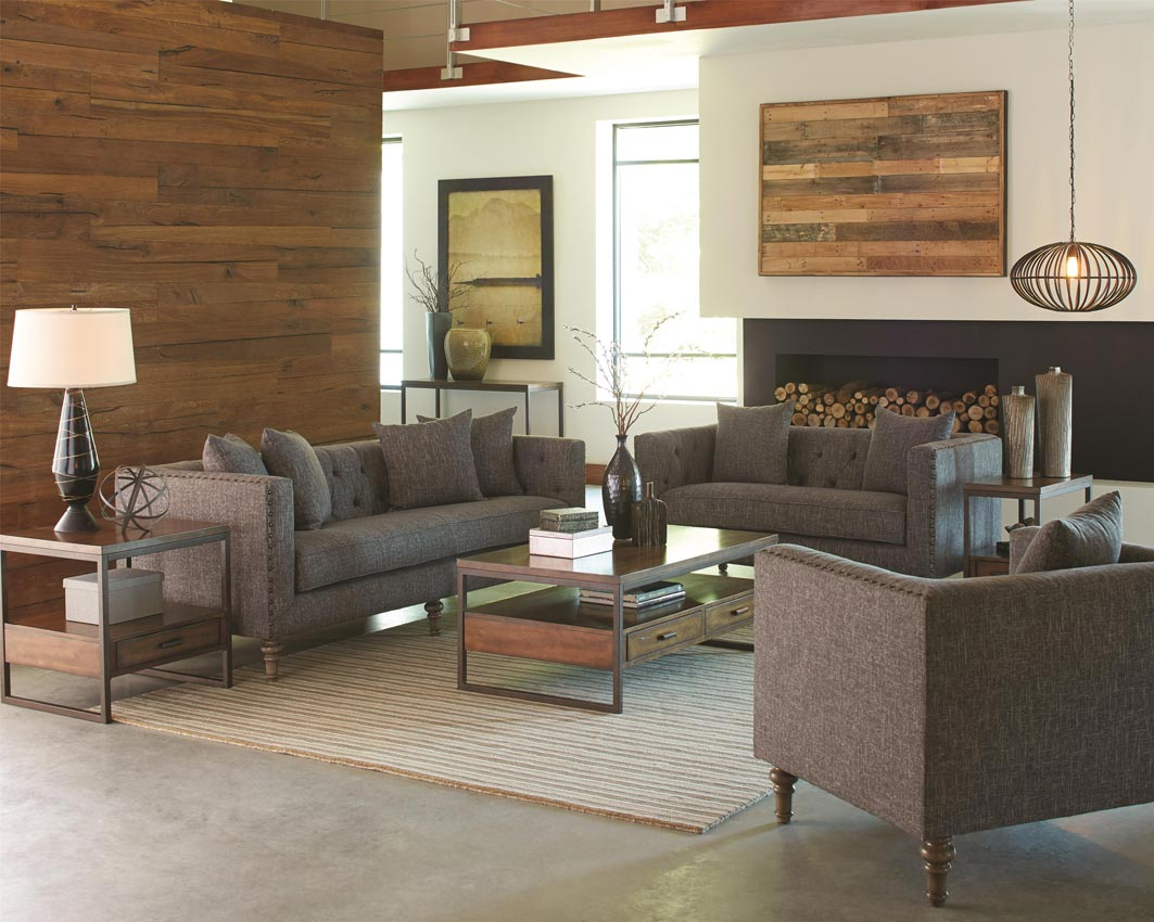 2 pcs ellery sofa with traditional industrial style sofa set for Sofa industrial