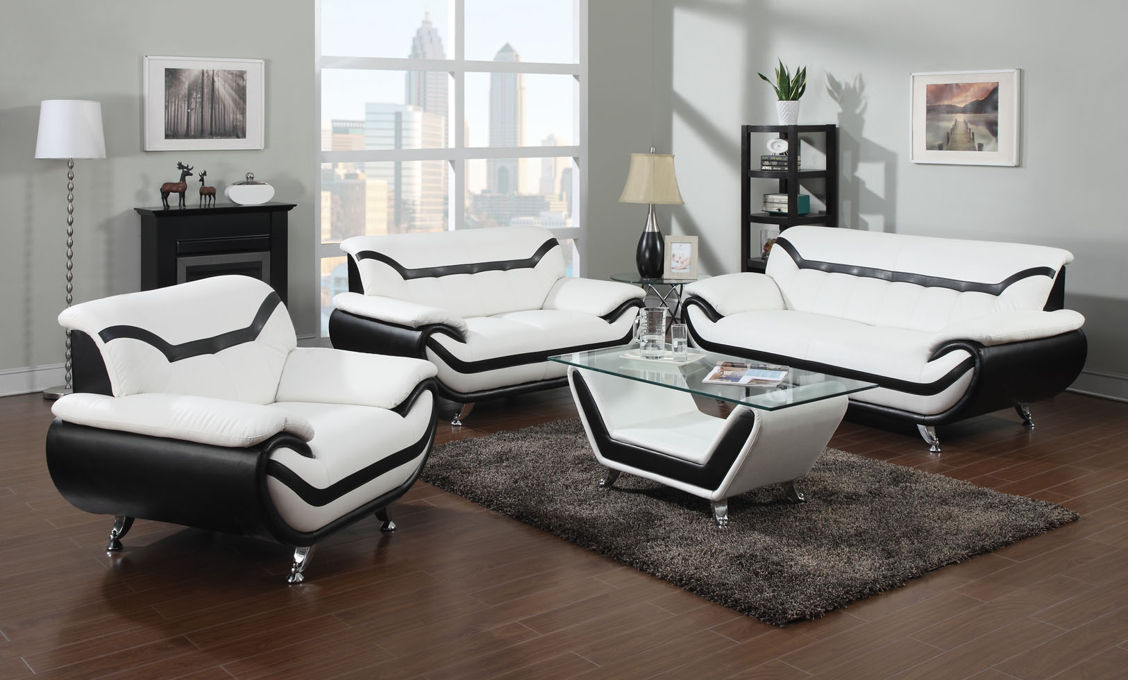 2 piece modern white leather sofas with black trim for White living room chairs