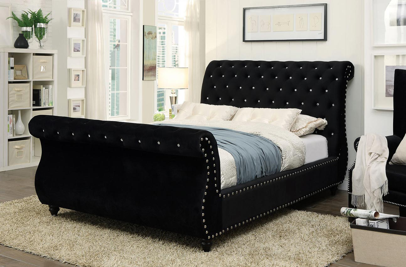 sleigh bed with button tufting color option. Black Bedroom Furniture Sets. Home Design Ideas