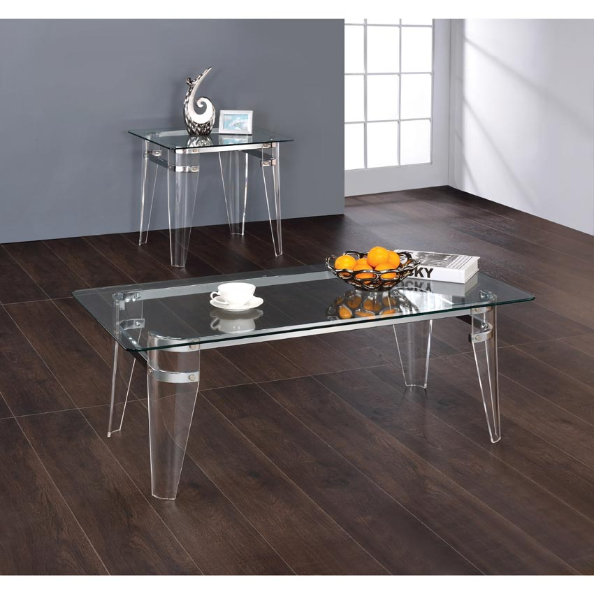 Contemporary Coffee Table Glass Top: Amaranth Contemporary Glass Top Coffee Table